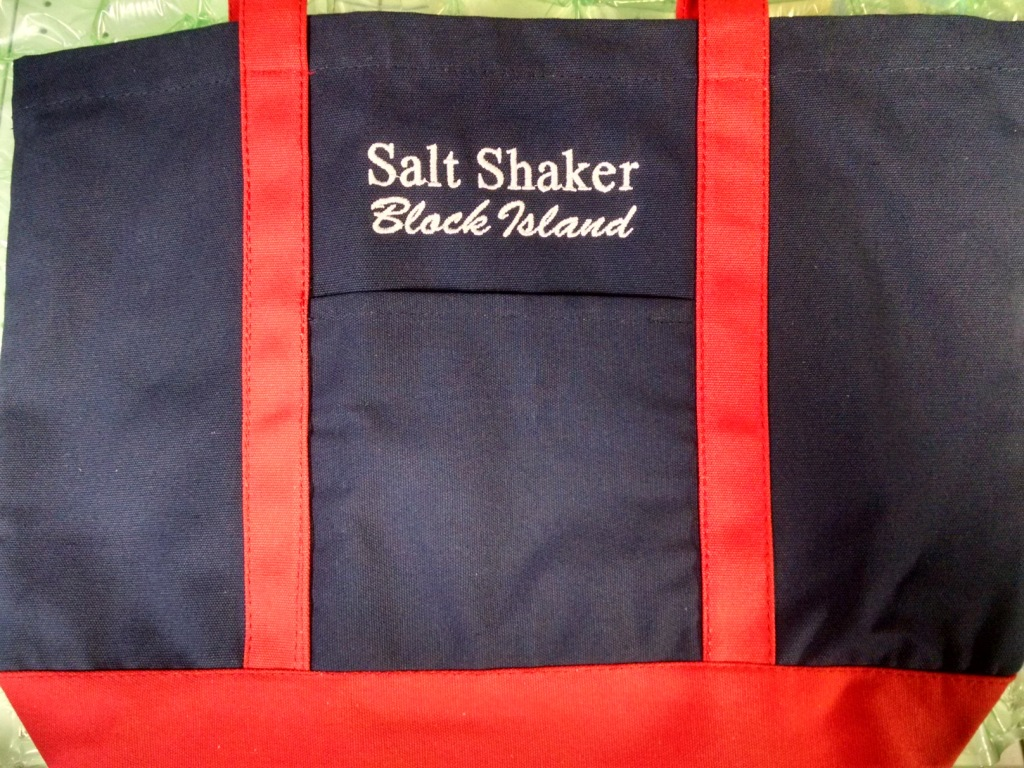 Navy red boat tote block island