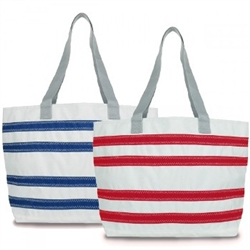 SailorBags Nautical Stripes Beach Sailcloth Tote